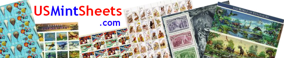 USMintSheets.com and image of US sheets of stamps